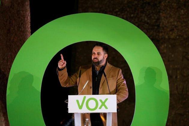 El líder de Vox, Santiago Abascal, este viernes, durante al acto de cierre de campaña del...