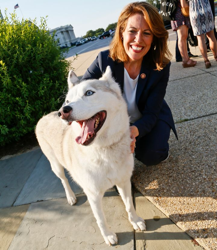 PACT Act co-sponsor Rep. Cindy Axne (D-Iowa) with Pepper at an event to urge the U.S. House to pass the bill against animal c