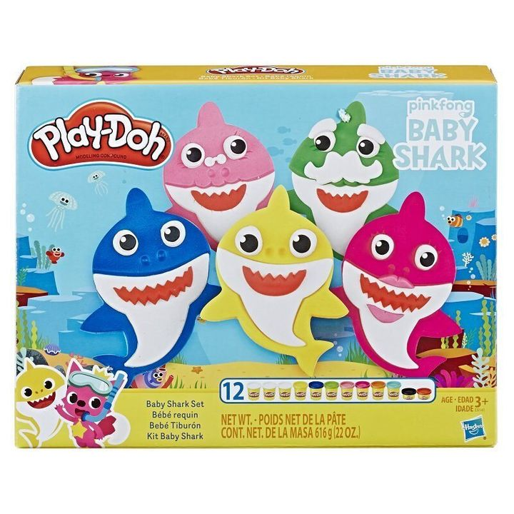 With 12 cans of play-doh, Kids can invent as many shark family members as they'd like.
