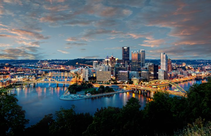 A view of the skyline of Pittsburgh, Pennsylvania.