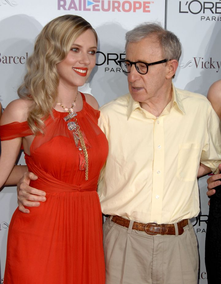 "Scarlett Johansson and Woody Allen at the premiere of his film ""Vicky Cristina Barcelona"" in 2008."