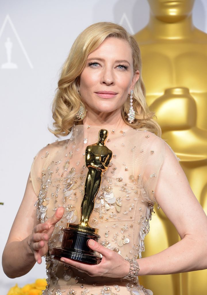 "Cate Blanchett after she won the Best Actress Oscar for her turn in Allen's ""Blue Jasmine"" in 2014."