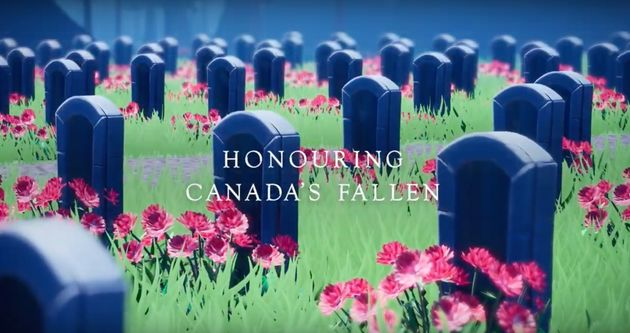 A screencap from a Royal Canadian Legion video promoting