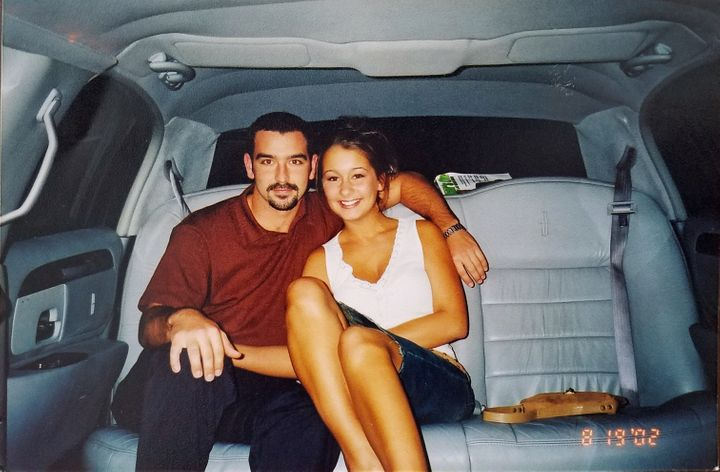 Megan Frey poses with her youth pastor Wes Feltner in this picture from 2002.