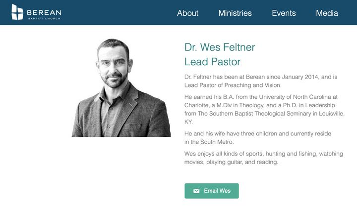 Wes Feltner is listed as a pastor at Berean Baptist Church on its website on Nov. 9, 2019.