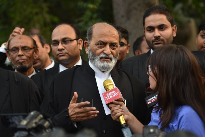 Zafaryab Jilani, lawyer for the Sunni Wakf Board, speaks to the media after the hearing in the Ram Janmabhoomi-Babri Masjid title dispute case, at Supreme Court, on October 16, 2019 in New Delhi.