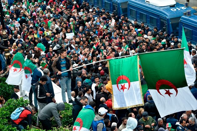 Algerian protesters march in the centre of the capital Algiers as anti-government demonstrations continue...