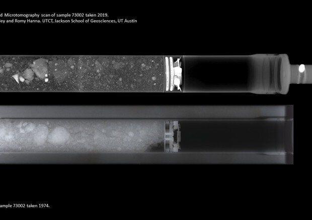 Il primo contenitore con i campioni di suolo lunare visto ai raggi X (fonte: