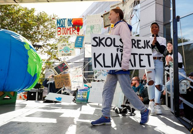 Greta Thunberg leading a climate change rally in North Carolina, U.S. on Nov. 8,