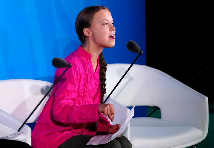 Greta Thunberg speaks at the 2019 United Nations Climate Action Summit in New York, U.S. on Sept. 23, 2019.