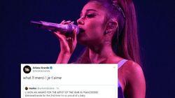 Ariana Grande apprend grâce à une fan sur Twitter qu'elle a remporté un NRJ Music