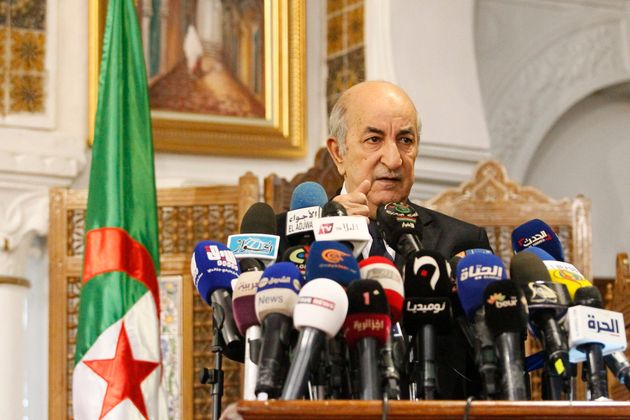 Abdelmadjid Tebboune speaks during a press conference in the capital Algiers on November 9, 2019. - Five...