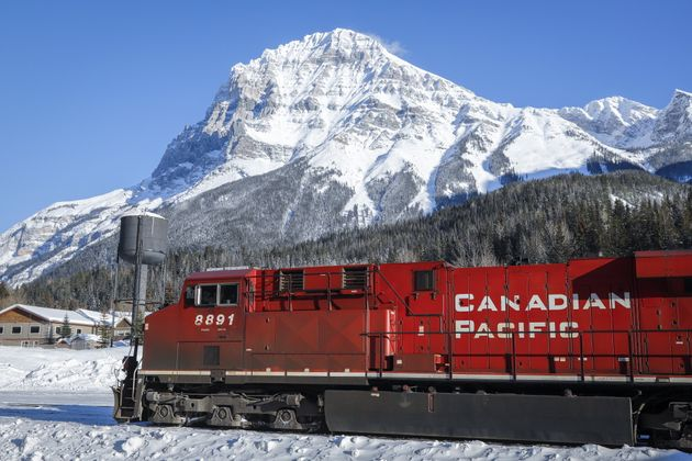 An eastbound train on the Canadian Pacific Railway waits in Field, B.C. on Feb. 4,