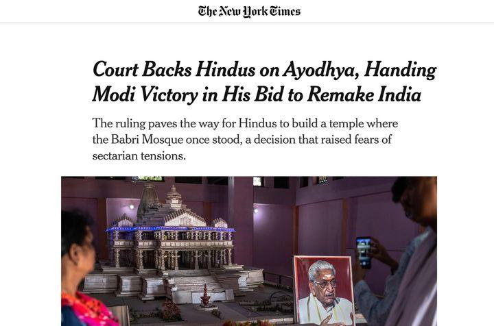 NYT piece on Ayodhya