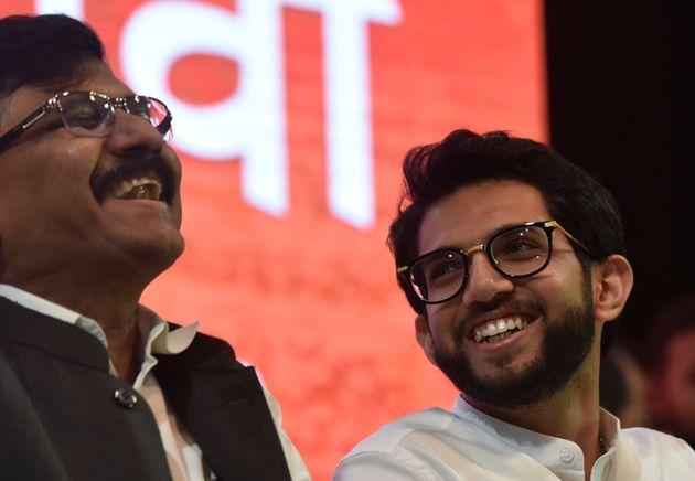 MUMBAI, INDIA - SEPTEMBER 30: Yuva Sena President Aaditya Thackeray and Shiv Sena leader Sanjay Raut...