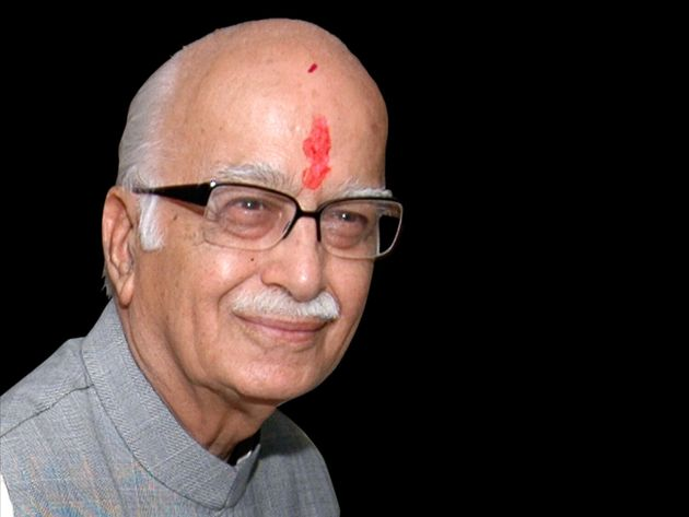 Lal Krishna Advani headshot, as Bharatiya Janata Party Prime Ministerial nominee, India, graphic element...