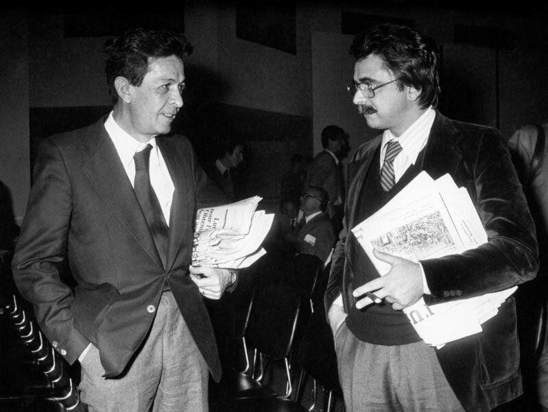 1977 Roma, il segretario del Partito Comunista Enrico Berlinguer con Achille