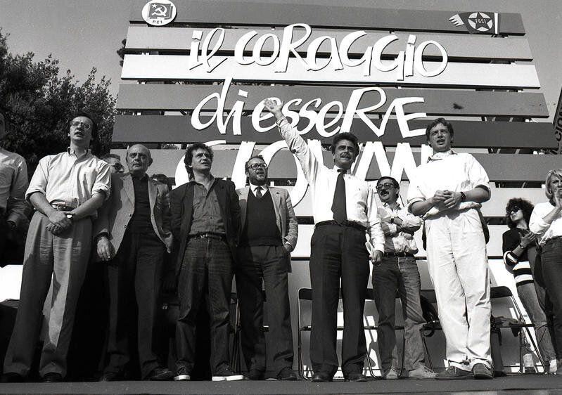 Roma 1989. Manifestazione del PCI (Partito Comunista Italiano) e della FGCI (Federazione Giovanile Comunista...