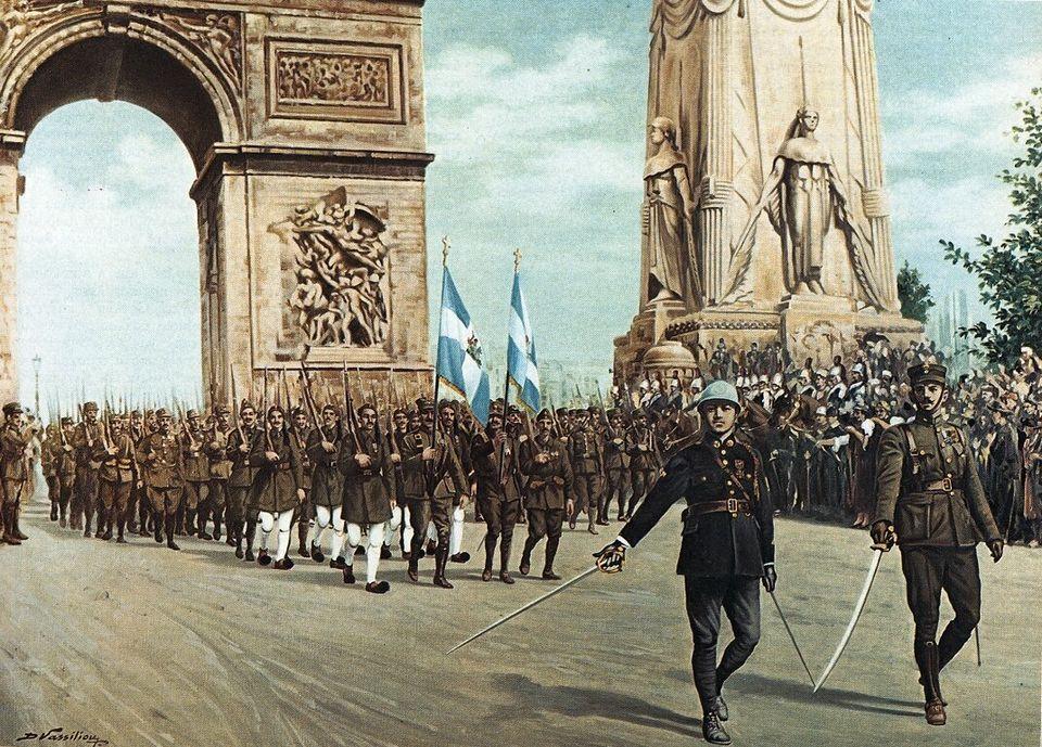 Πίνακας που απεικονίζει τμήμα του ελληνικού στρατού να παρελαύνει στην Αψίδα του Θριάμβου, στο Παρίσι,...