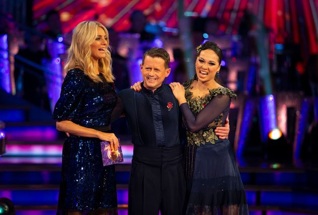 Mike with dance partner Katya Jones after they were voted out of the