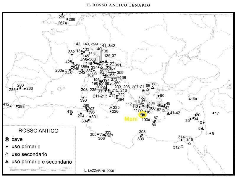 Xάρτης 2. Χάρτης Παραγωγής και διακίνησης του Rosso antico. Πρωτογενής και Δευτερογενής Χρήση (L. Lazzarini, Poikiloi lithoi, versiculores maculae  i marmi colorati della Grecia antica, 2007).