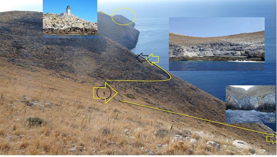 Εικ.4 Η θέση του αρχαίου λατομείου Ταινάρου πλησίον του Φάρου του ομώνυμου ακρωτηρίου. Χερσαία κατάβαση στη θέση