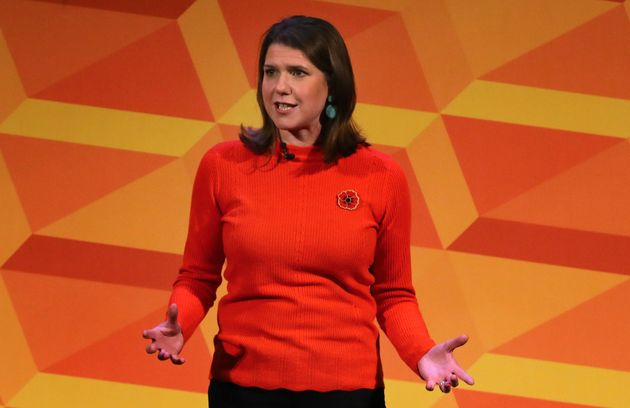 Liberal Democrats leader Jo Swinson makes a speech at a rally at the Battersea Arts Centre in Lavender...
