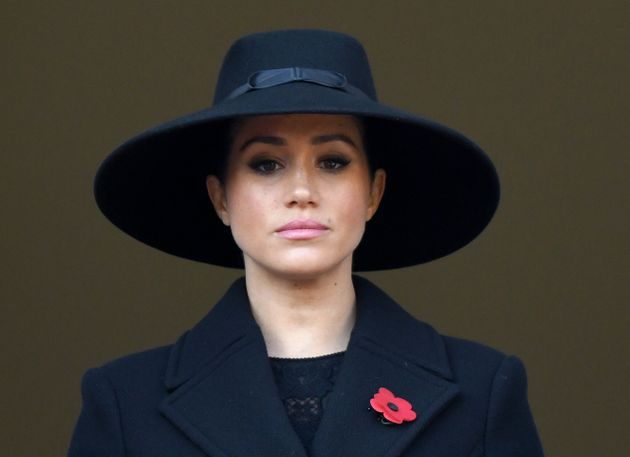 LONDON, ENGLAND - NOVEMBER 10: Meghan, Duchess of Sussex attends the annual Remembrance Sunday memorial...