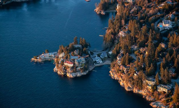 An aerial view of luxury homes in Horseshoe Bay, West Vancouver,