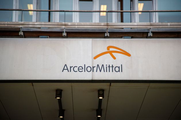 Illustration picture shows the Arcelor Mittal logo at the presentation of the solar pannel roof at the...