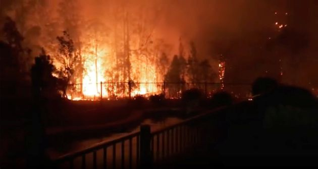 A fire rages on in Rainbow Flat, New South Wales,