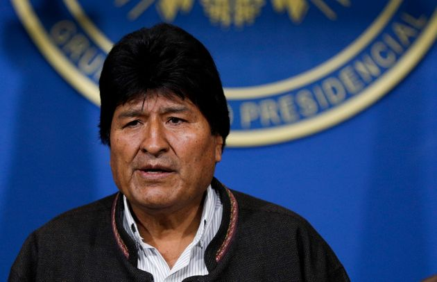 Bolivia's President Evo Morales looks on during a press conference in La Paz,