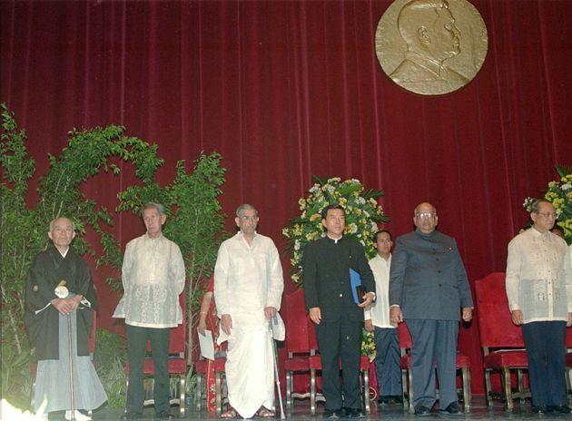 The 1996 Ramon Magsaysay Awardees (left to right) — Rev. Toshihiro Takami of Japan, Nick Joaquin...