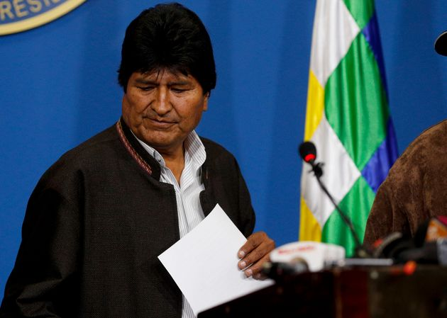 Bolivia's President Evo Morales looks down during a press conference in La Paz, Bolivia, Sunday, Nov....