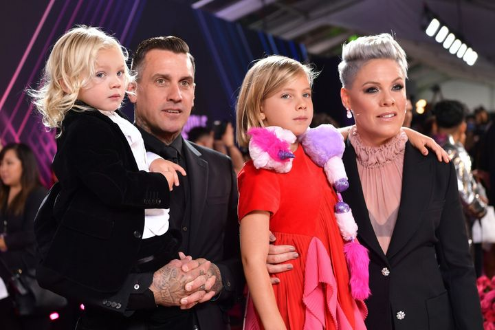 Carey Hart and Pink with children Jameson and Willow Hart arrive at the 2019 E! People's Choice Awards.