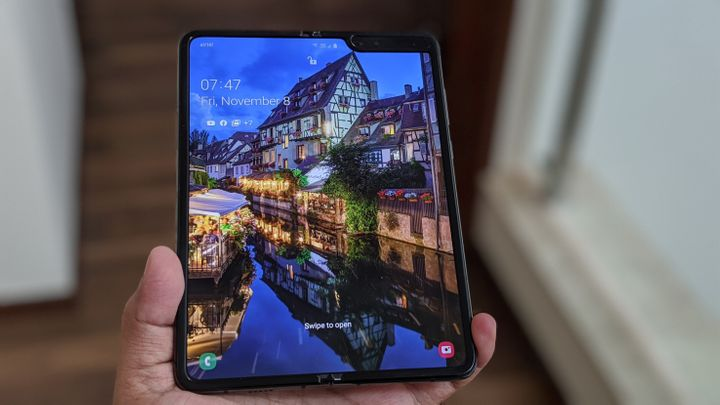The Samsung Galaxy Fold opened up in tablet mode.