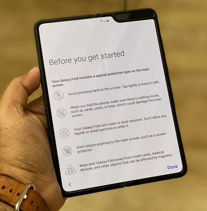 The Samsung Galaxy Fold comes with a list of dos and don't on how to use it, which isn't common for phones these days.