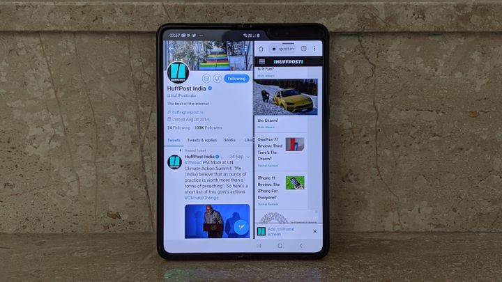 Multitasking on the Samsung Galaxy Fold is a lot better than it is on other phones, because of the large inner display.