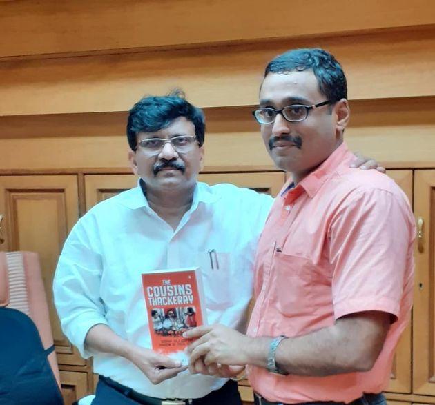 Writer Dhaval Kulkarni with Shiv Sena leader Sanjay