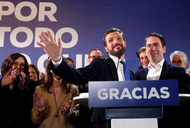 El líder del PP, Pablo Casado, y el secretario general, Teodoro García