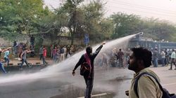 Delhi Police Uses Water Cannon On Protesting JNU Students Outside Convocation