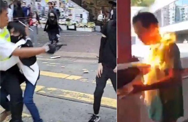 Agente spara a un manifestante a Hong Kong. Sostenitore pro-Pechino dato alle