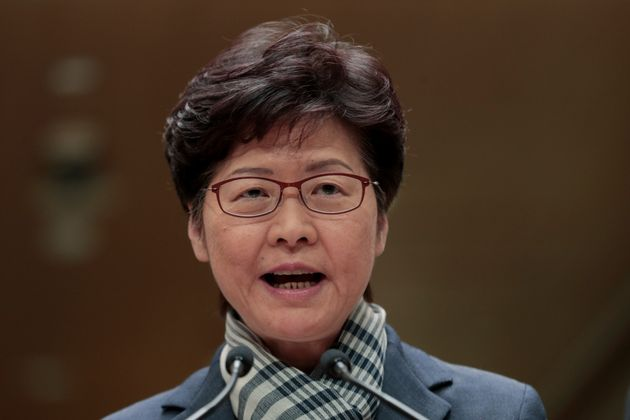Hong Kong Chief Executive Carrie Lam speaks during a press conference in Hong Kong, Monday, Nov. 11,...