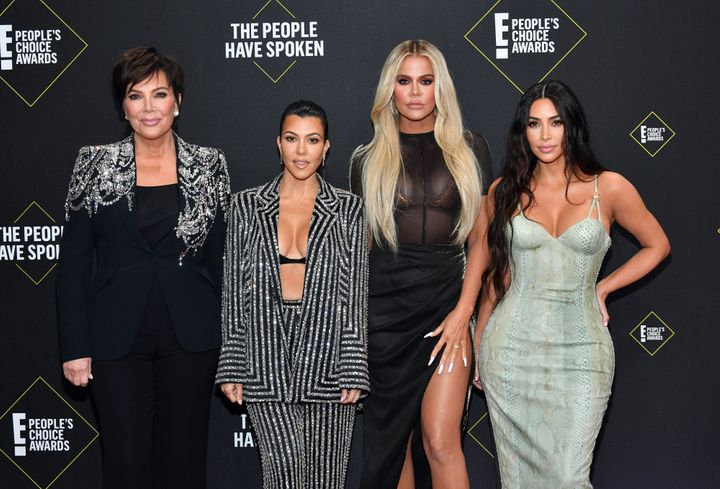 Kris Jenner and Kourtney, Khloé and Kim Kardashian arrive at the 2019 E! People's Choice Awards on Sunday.