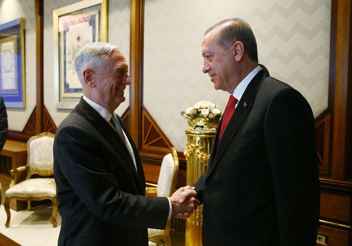 Former Defense Secretary Jim Mattis (left), shown here greeting Turkey President Recep Tayyip Erdogan,was one of the dw