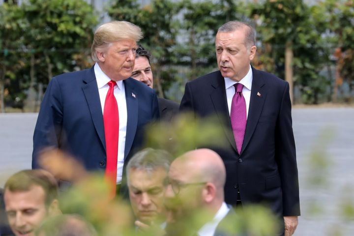 President Donald Trump and Erdogan (right) have built a close personal bond since 2016.