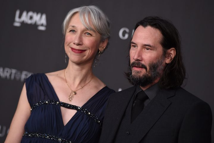 Keanu Reeves and Alexandra Grant arrive at the 2019 LACMA Art and Film Gala at Los Angeles County Museum of Art on Saturday, Nov. 2, 2019, in Los Angeles. (Photo by Jordan Strauss/Invision/AP)