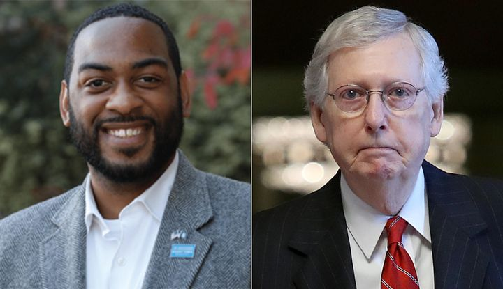 Kentucky state Rep. Charles Booker (left) said Senate Majority Leader Mitch McConnell has left Kentucky behind.