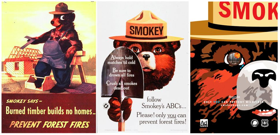 Smokey Bear is pictured in a series of U.S. Forest Service posters (from left: 1945, 1966 and 2007).