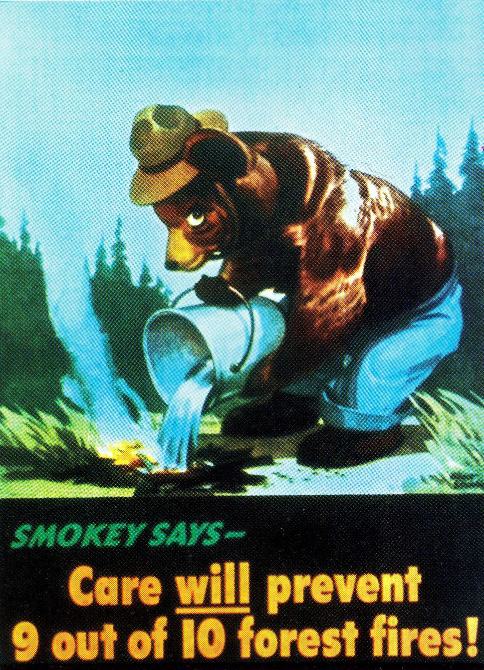 Smokey Bear is pictured in his first Forest Service poster in 1944.